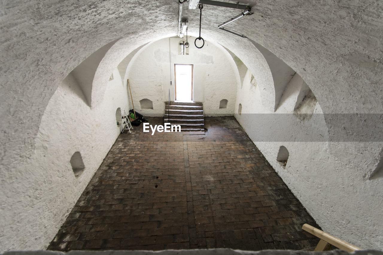 Interior view of front door and walkway of church