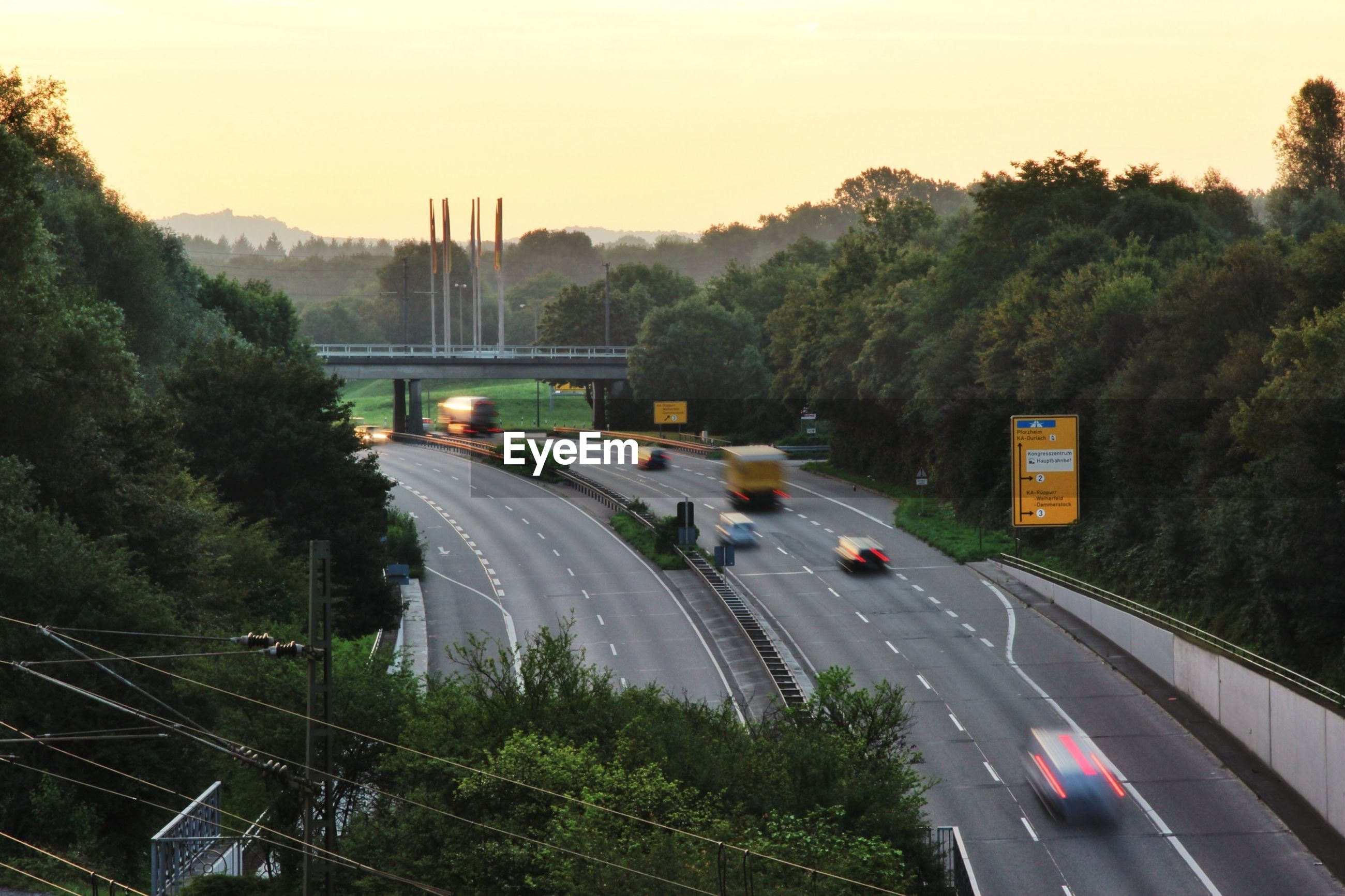 High angle view of vehicles moving on highway