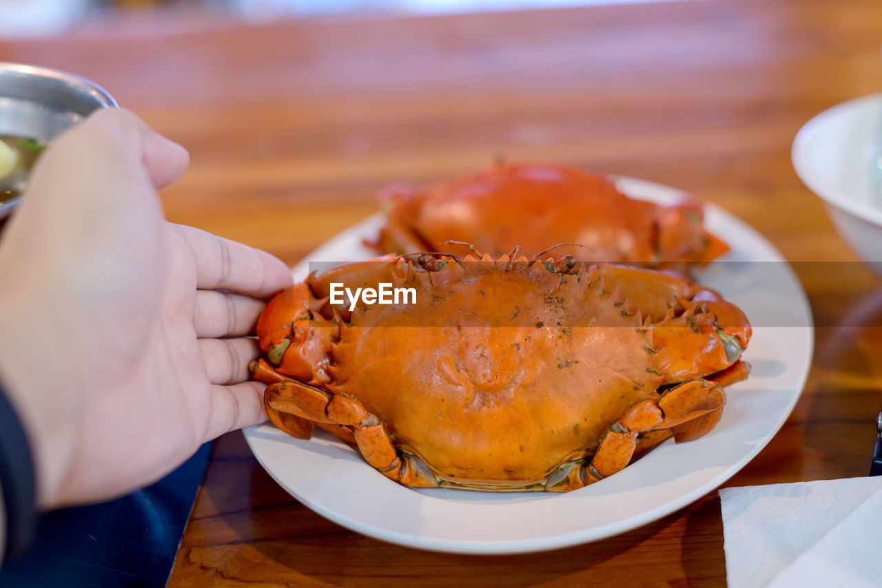 food and drink, food, freshness, table, hand, real people, human hand, one person, human body part, indoors, ready-to-eat, plate, holding, lifestyles, close-up, unrecognizable person, selective focus, seafood, serving size, finger, temptation