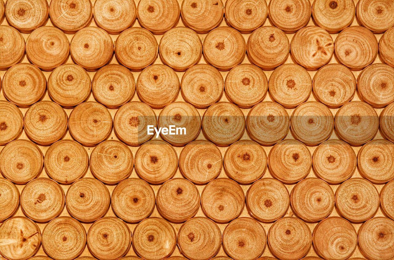 Full frame shot of circle shaped wood