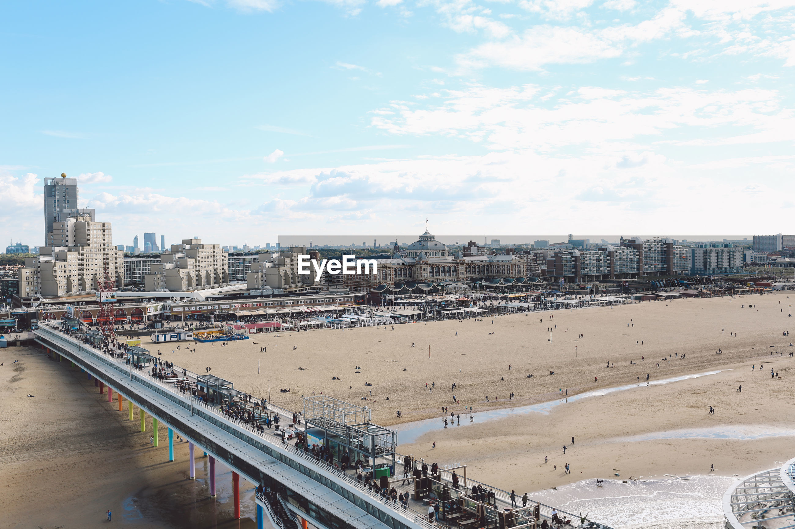 High angle view of scheveningen pier at beach in city