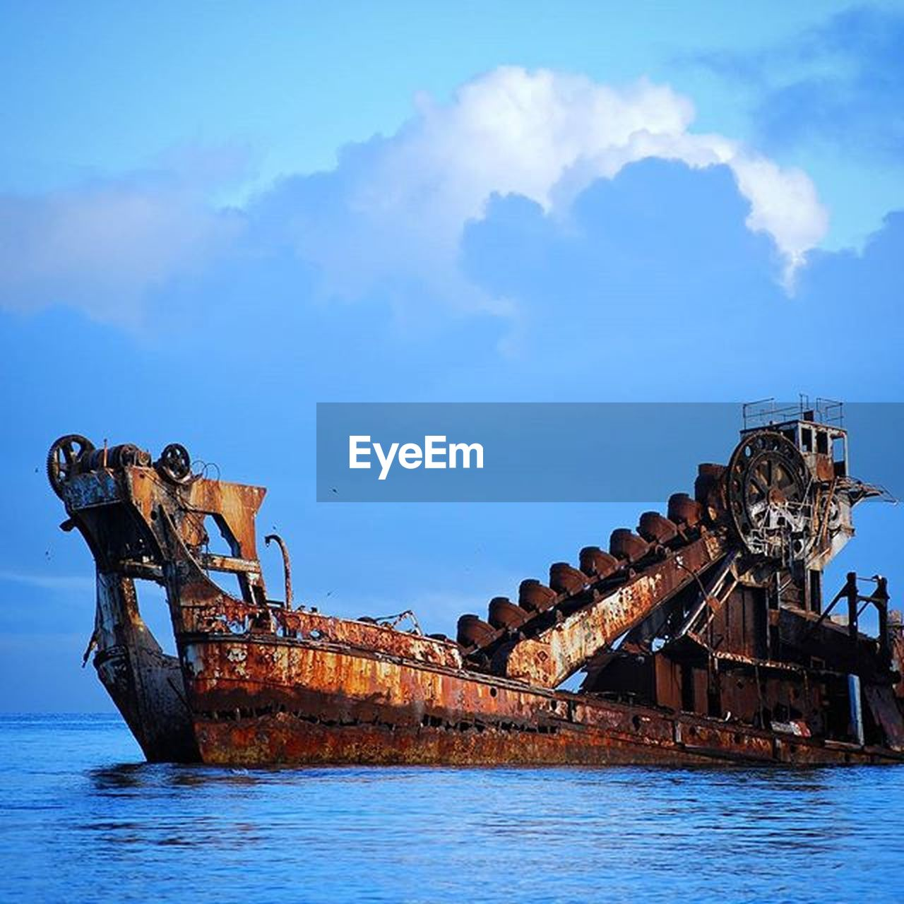 cloud - sky, sky, nautical vessel, rusty, abandoned, ship, no people, outdoors, day, sea, water, nature