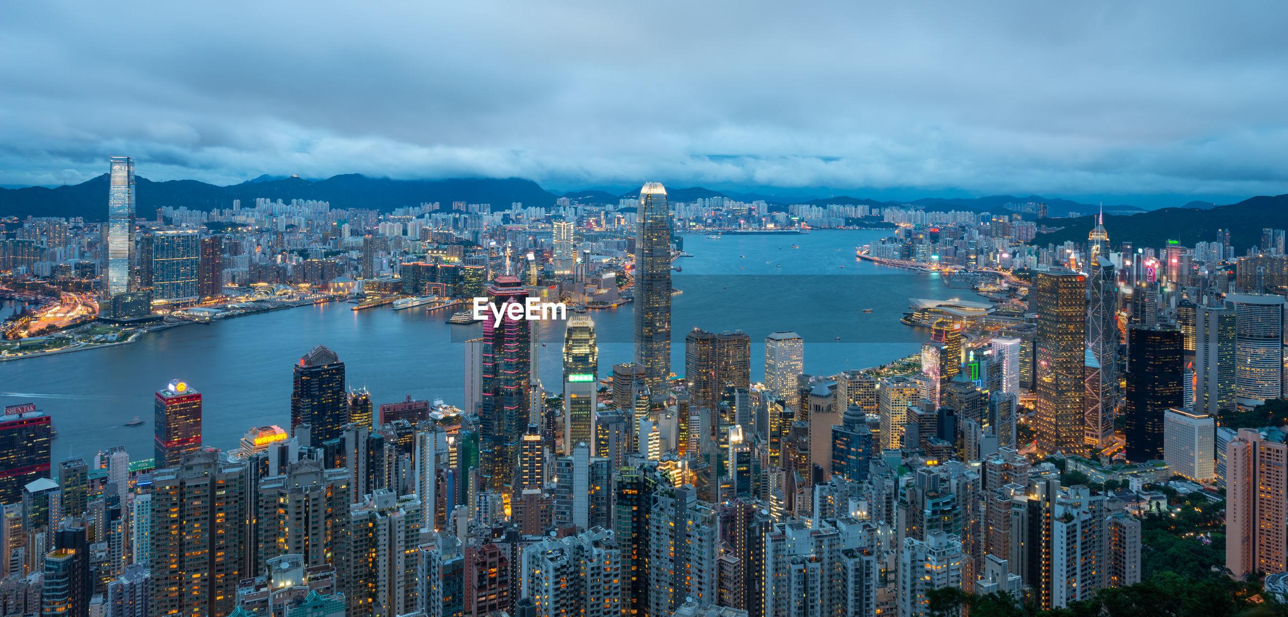 Panorama view on victori peak, hong kong