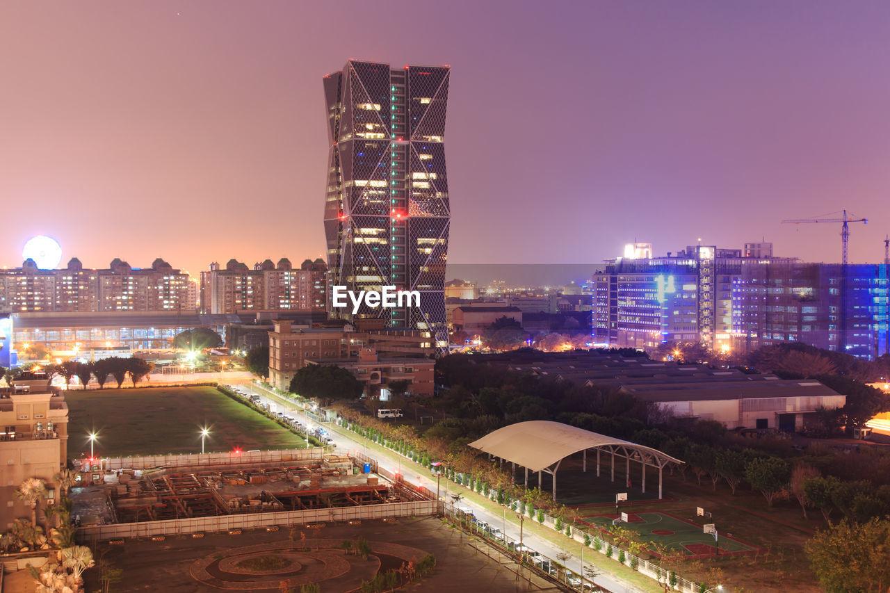 High angle shot of illuminated buildings
