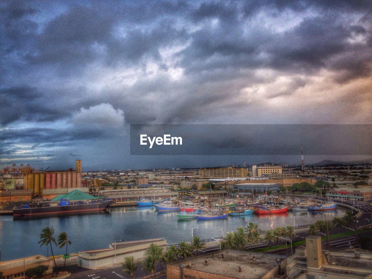 building exterior, architecture, cloud - sky, built structure, sky, water, no people, outdoors, city, cityscape, storm cloud, nautical vessel, nature, day, sea