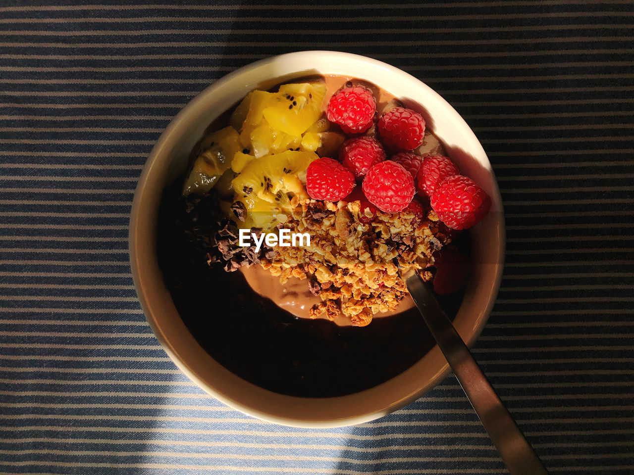 Directly above shot of breakfast served in bowl