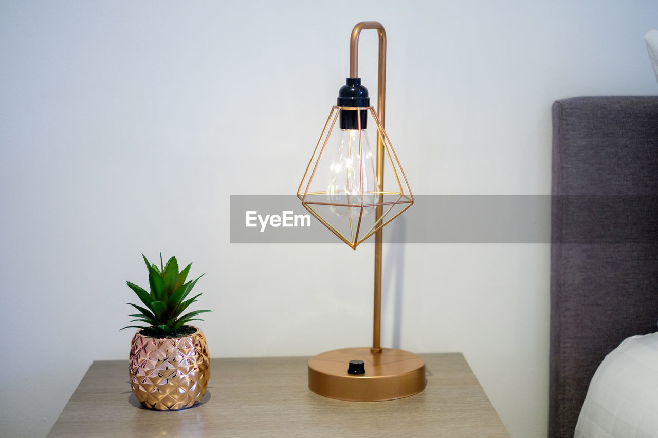 POTTED PLANT ON TABLE AGAINST ILLUMINATED WALL
