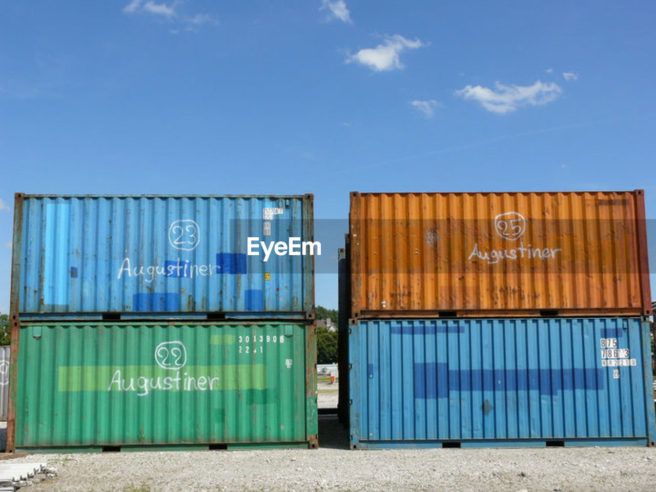 cargo container, container, freight transportation, industry, outdoors, day, transportation, blue, stack, sky, commercial dock, shipping, no people