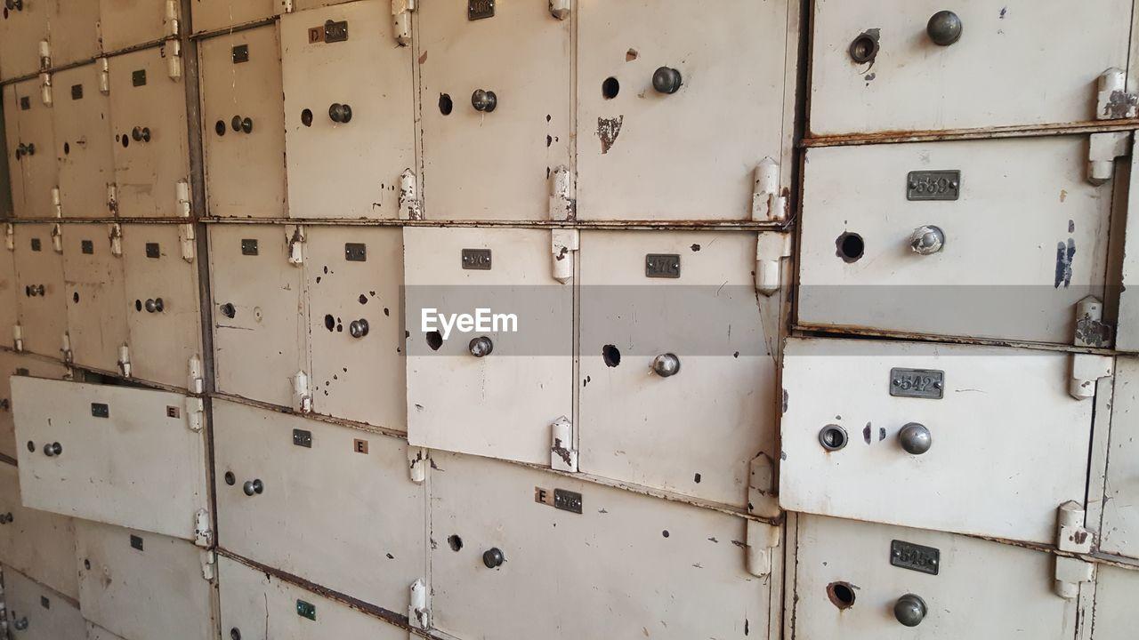 Full Frame Shot Of Abandoned Lockers