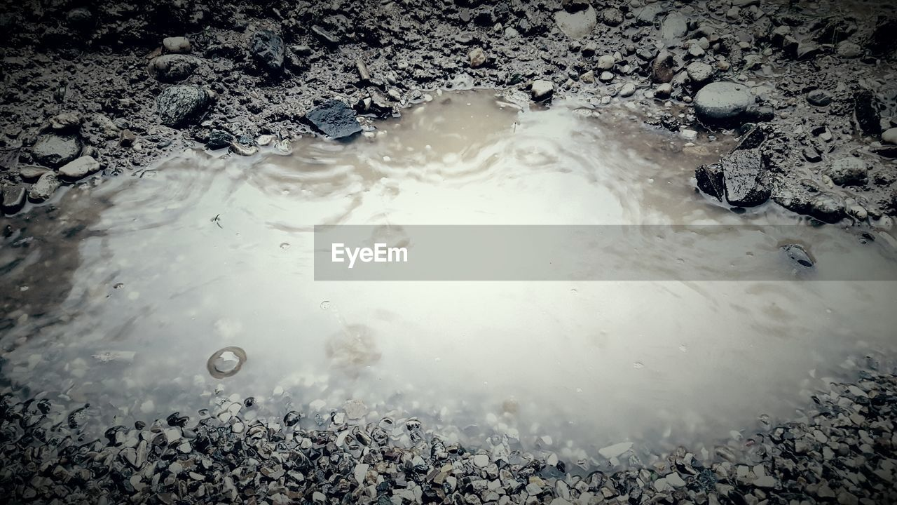 High angle view of puddle on field during rainy season