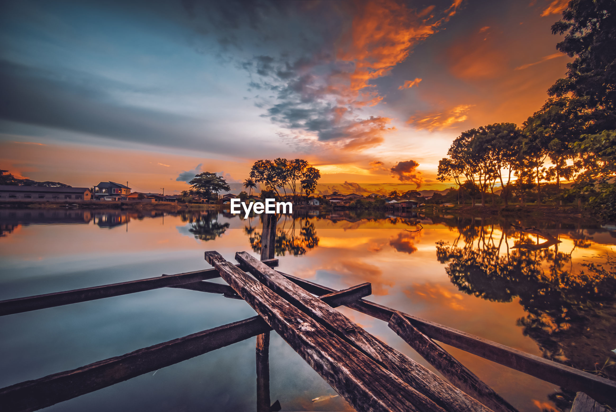 SCENIC VIEW OF REFLECTION OF TREES IN WATER DURING SUNSET