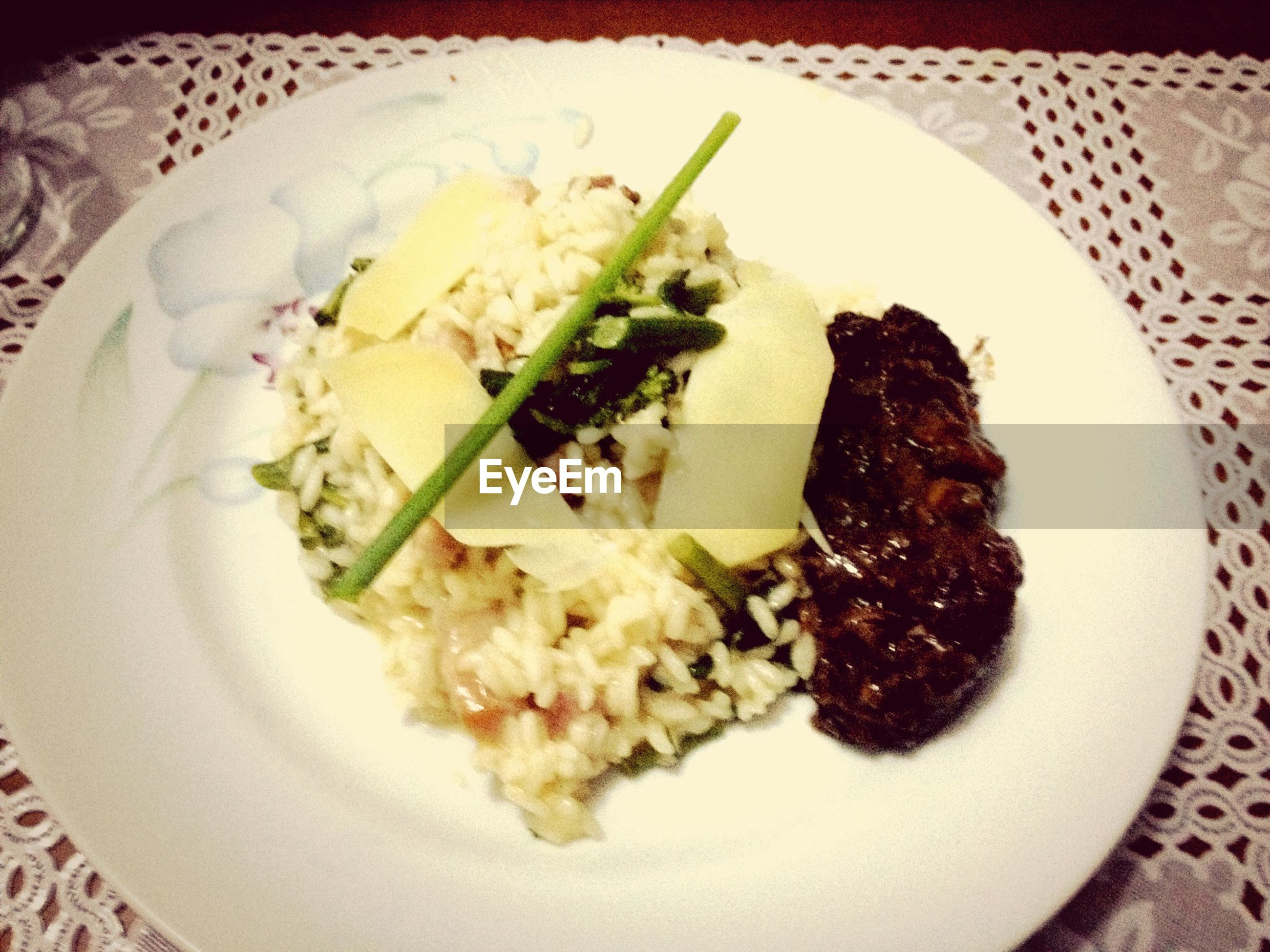 food and drink, food, indoors, ready-to-eat, plate, freshness, still life, serving size, meal, indulgence, close-up, healthy eating, table, high angle view, served, temptation, garnish, fork, meat