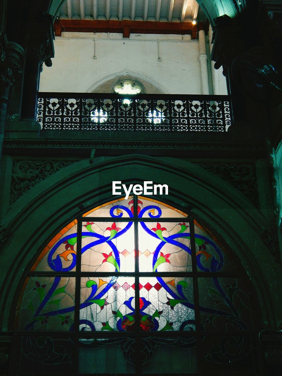 stained glass, built structure, architecture, window, place of worship, multi colored, religion, spirituality, arch, indoors, low angle view, no people, day, building exterior