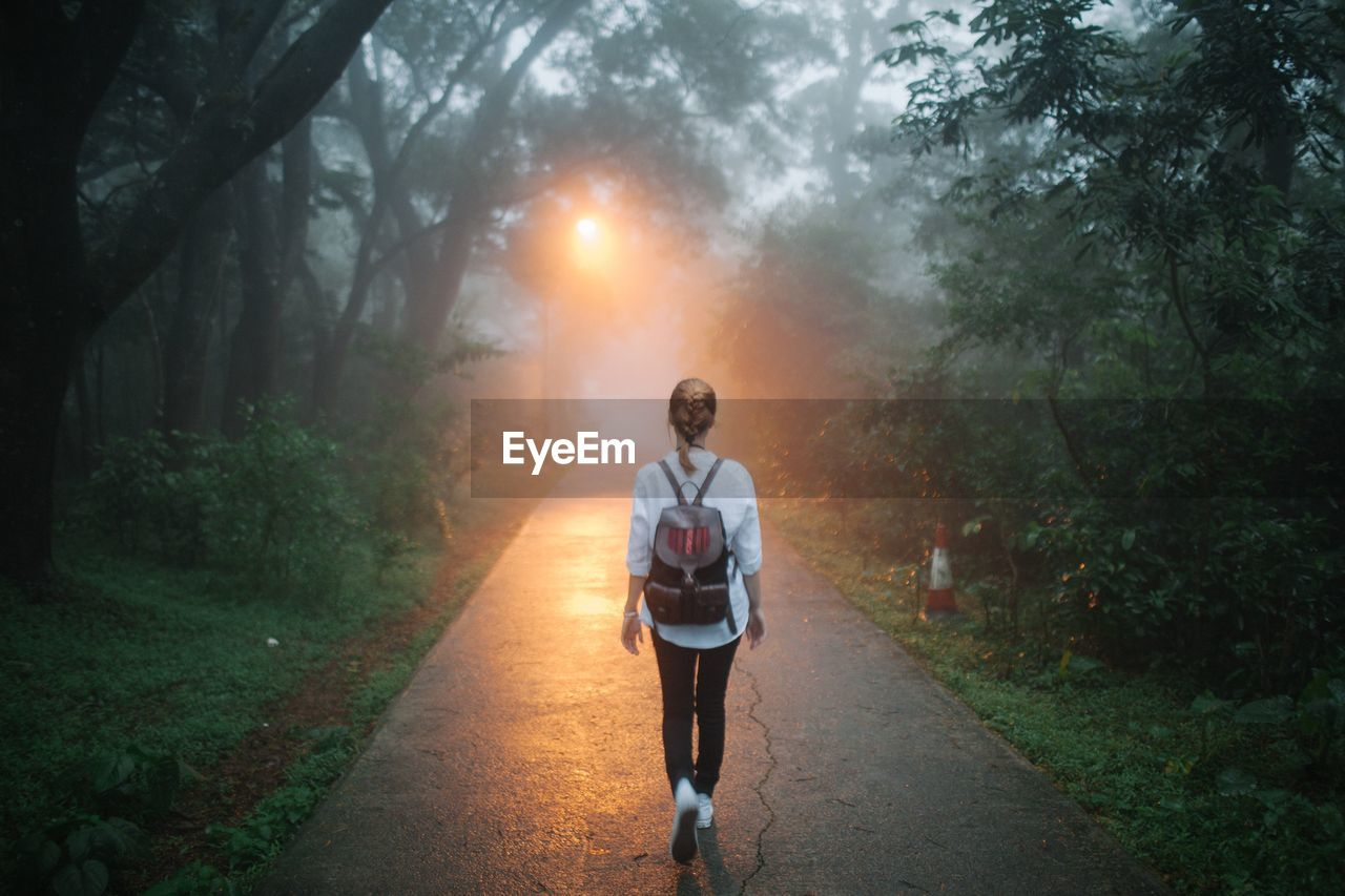 Rear view of woman walking on road amidst trees during foggy weather