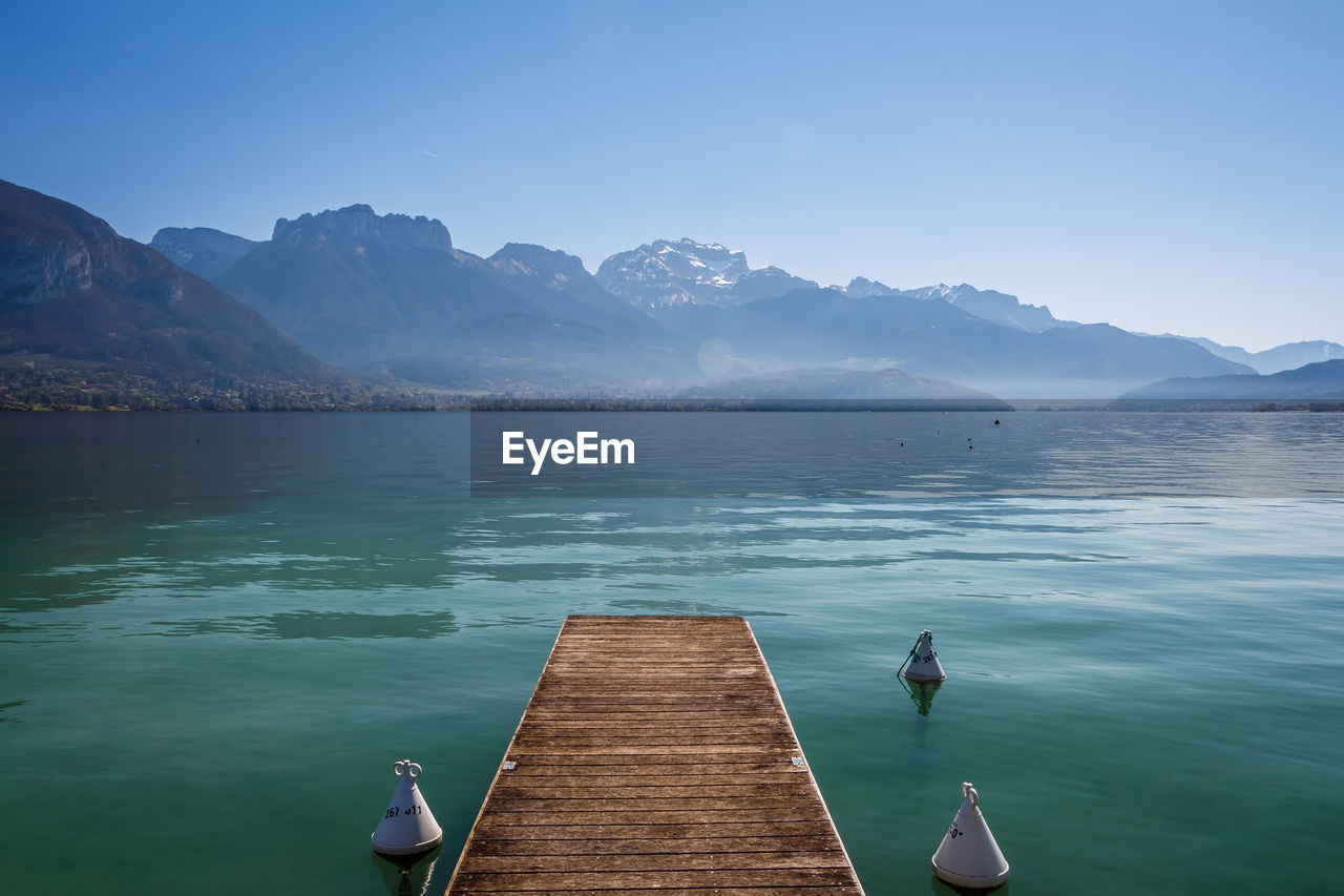 Wooden jetty on lake