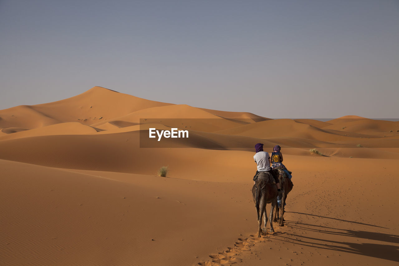 Rear View Of Couple Riding On Camel In Desert