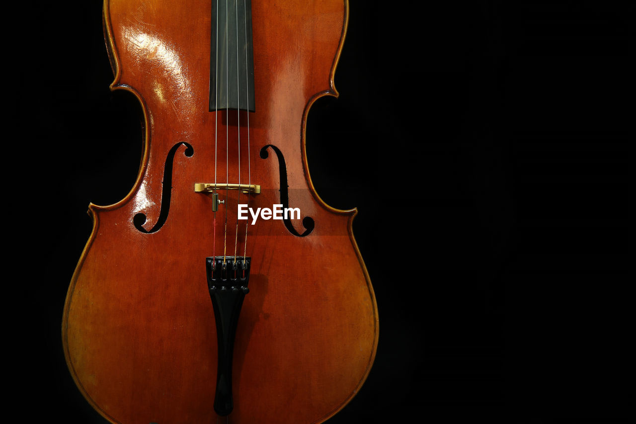 black background, music, arts culture and entertainment, musical instrument, studio shot, string instrument, musical equipment, indoors, musical instrument string, string, cut out, wood - material, one person, classical music, antique, violin, black color, copy space, close-up, brown, classical style