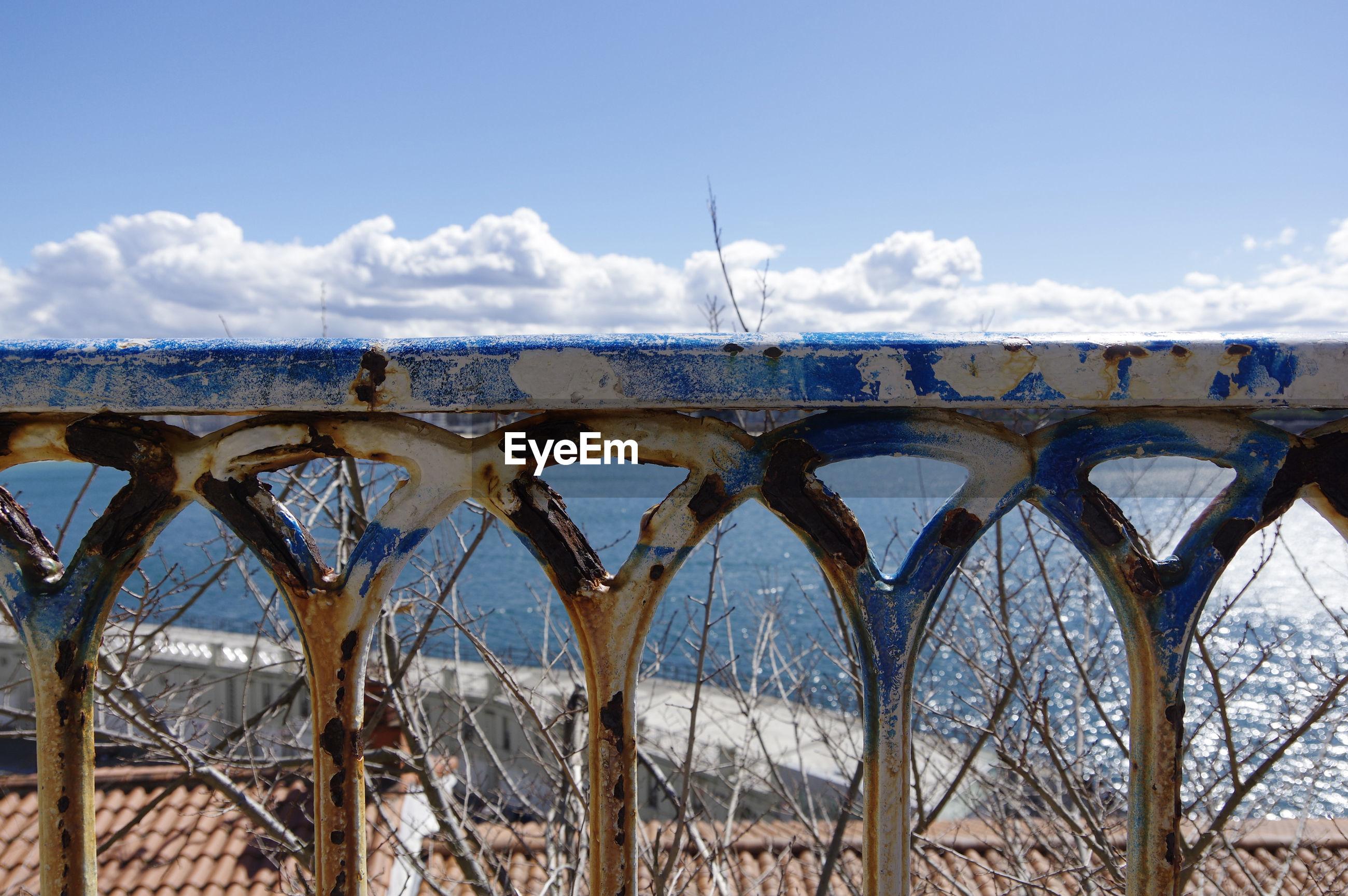 Old railing against sea