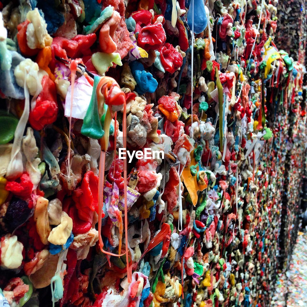 Close-up of multi colored gum wall