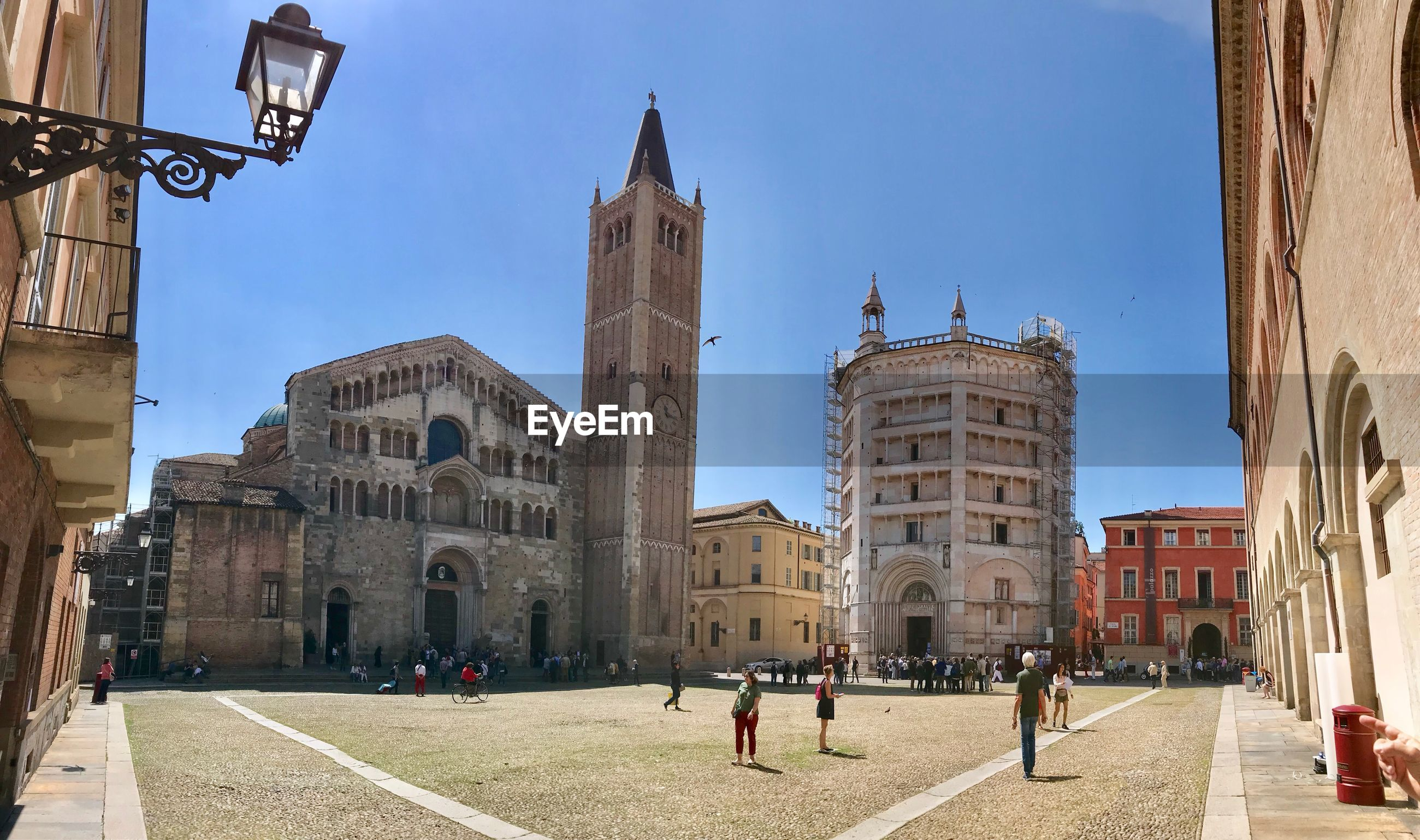 PANORAMIC VIEW OF BUILDINGS AGAINST CLEAR SKY