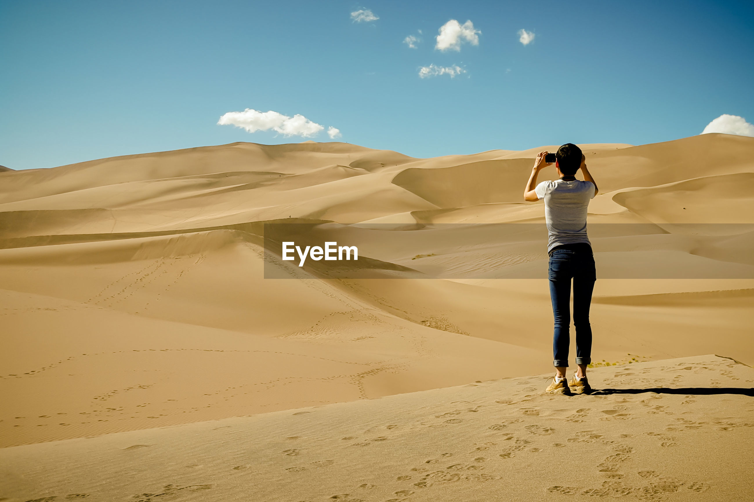 Rear view of young woman photographing desert