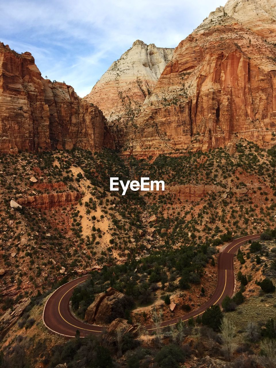 High Angle View Of Street By Mountains At Zion National Park
