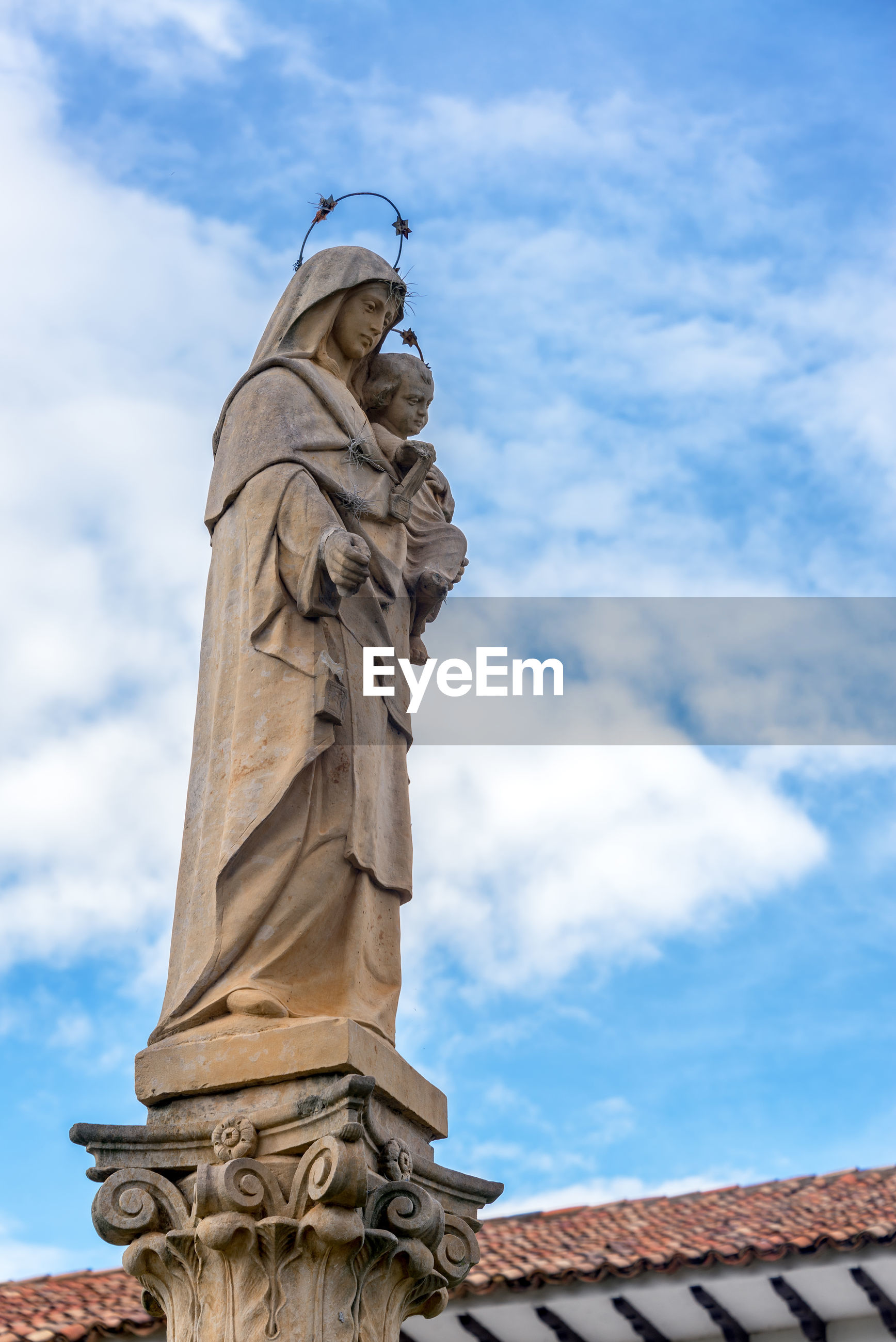 Low angle view of virgin mary statue