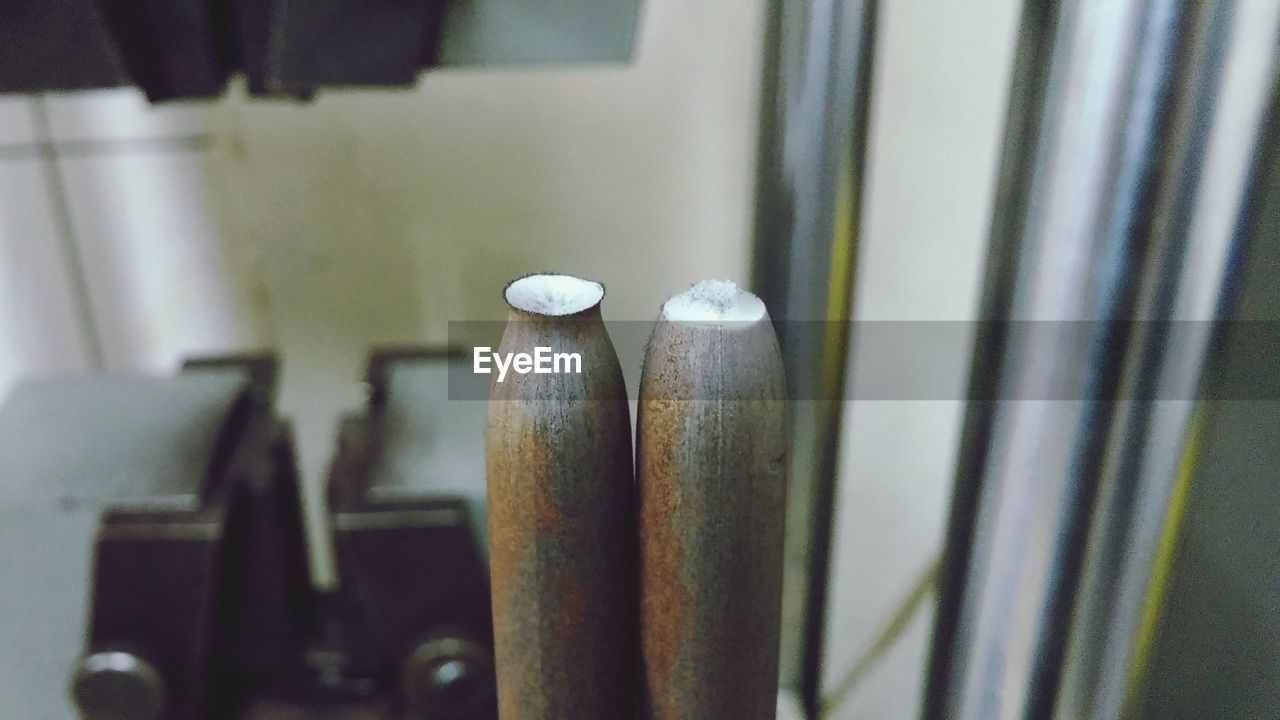 Close-Up Of Metallic Rod In Industry