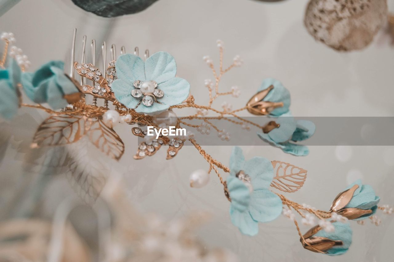 Close-up of floral hair clip