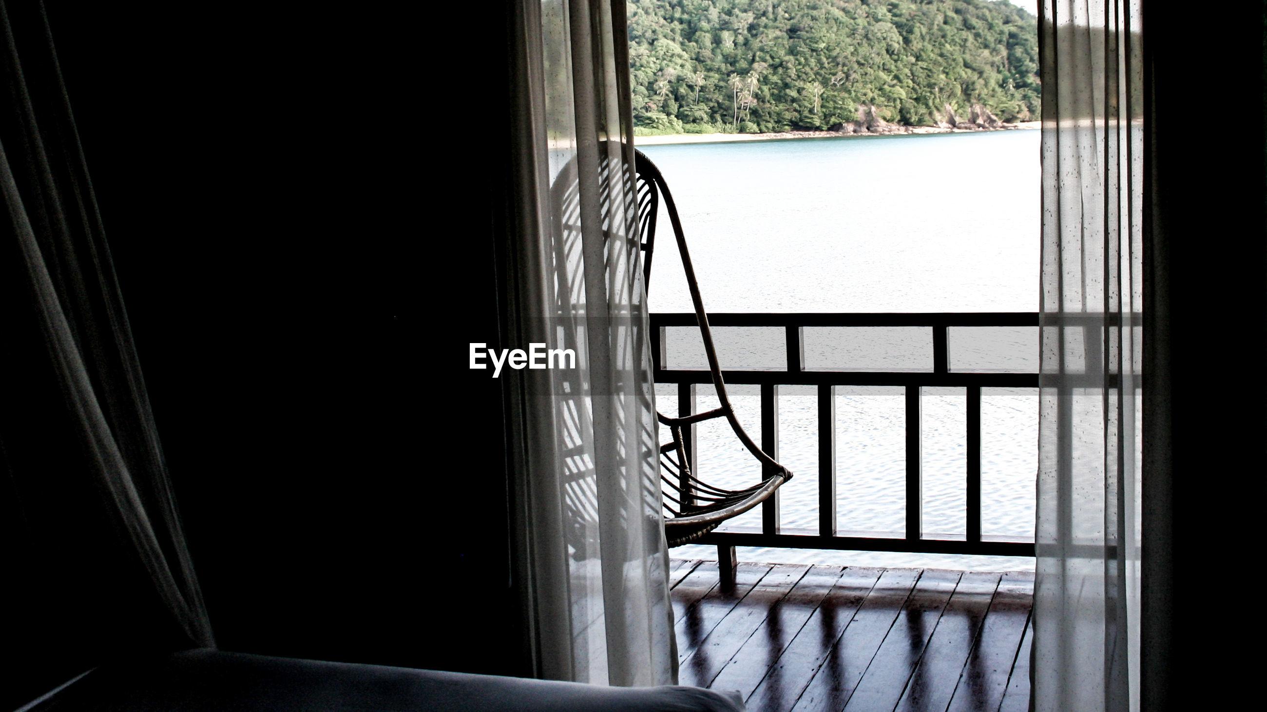 Balcony seen through window at home