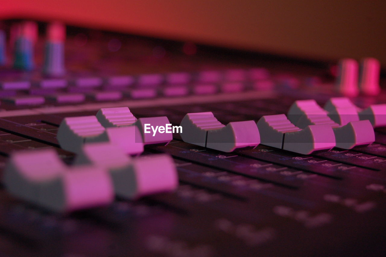 Close-up of sound recording equipment