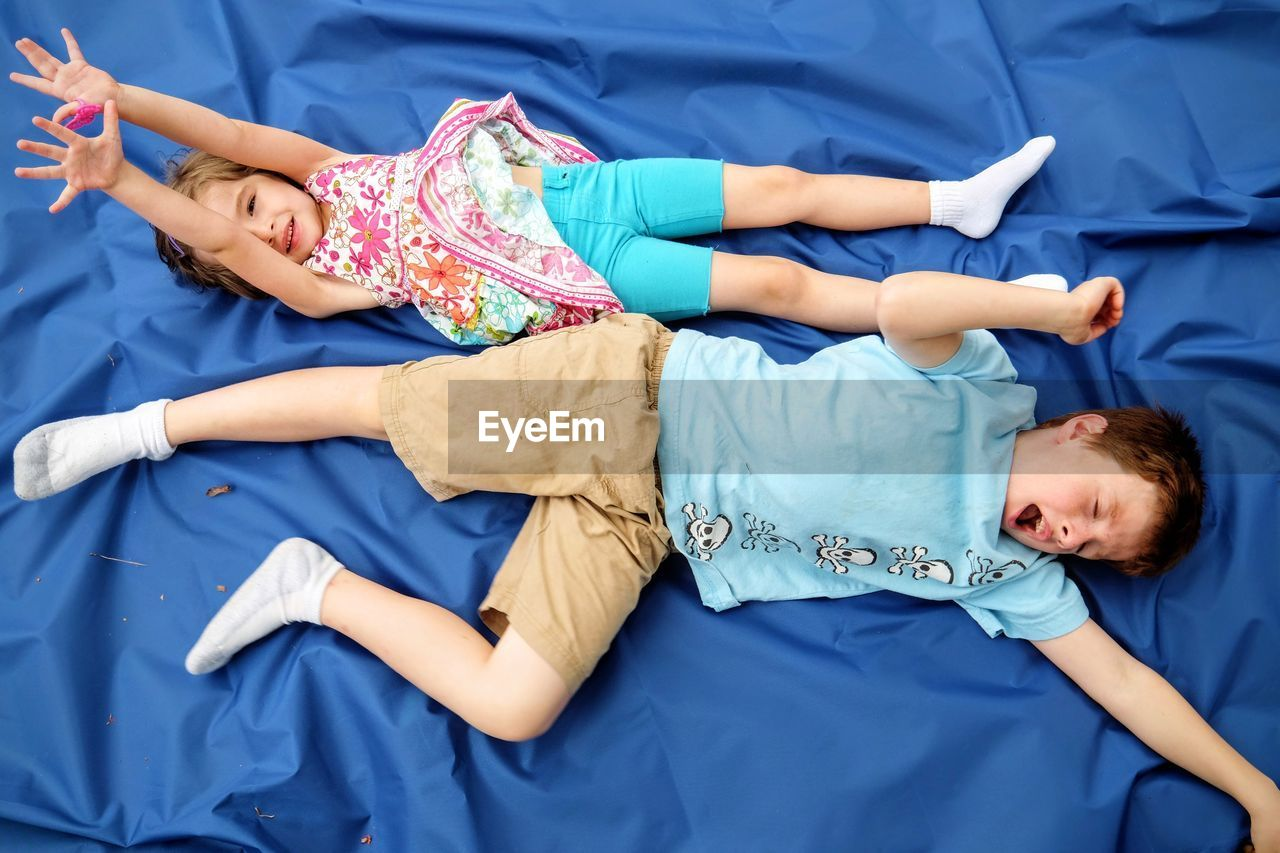 High Angle View Of Lazy Siblings Resting On Blue Fabric In Yard