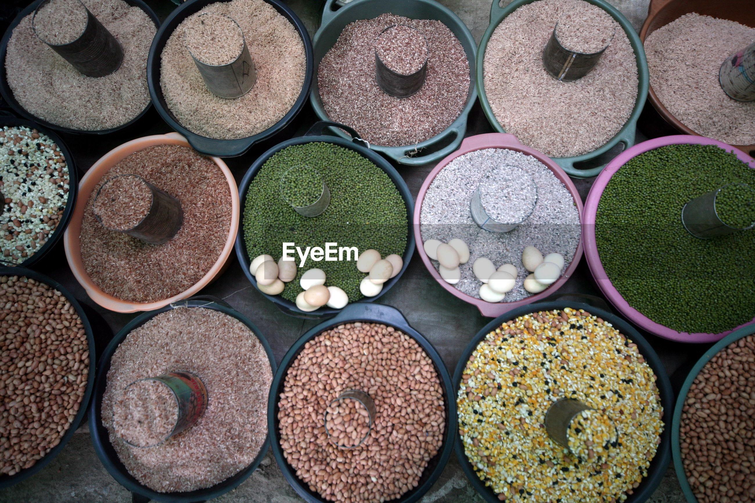 Wholegrain lentil beans at displayed grocer shop