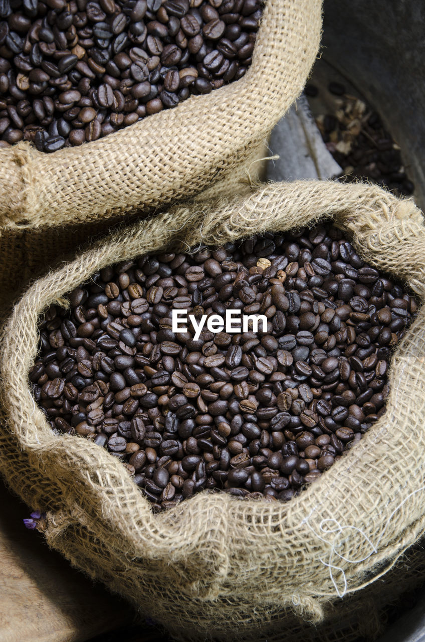 food and drink, sack, food, freshness, still life, healthy eating, wellbeing, coffee, no people, raw food, large group of objects, container, coffee - drink, close-up, abundance, roasted coffee bean, high angle view, basket, ingredient, burlap, jute, legume family