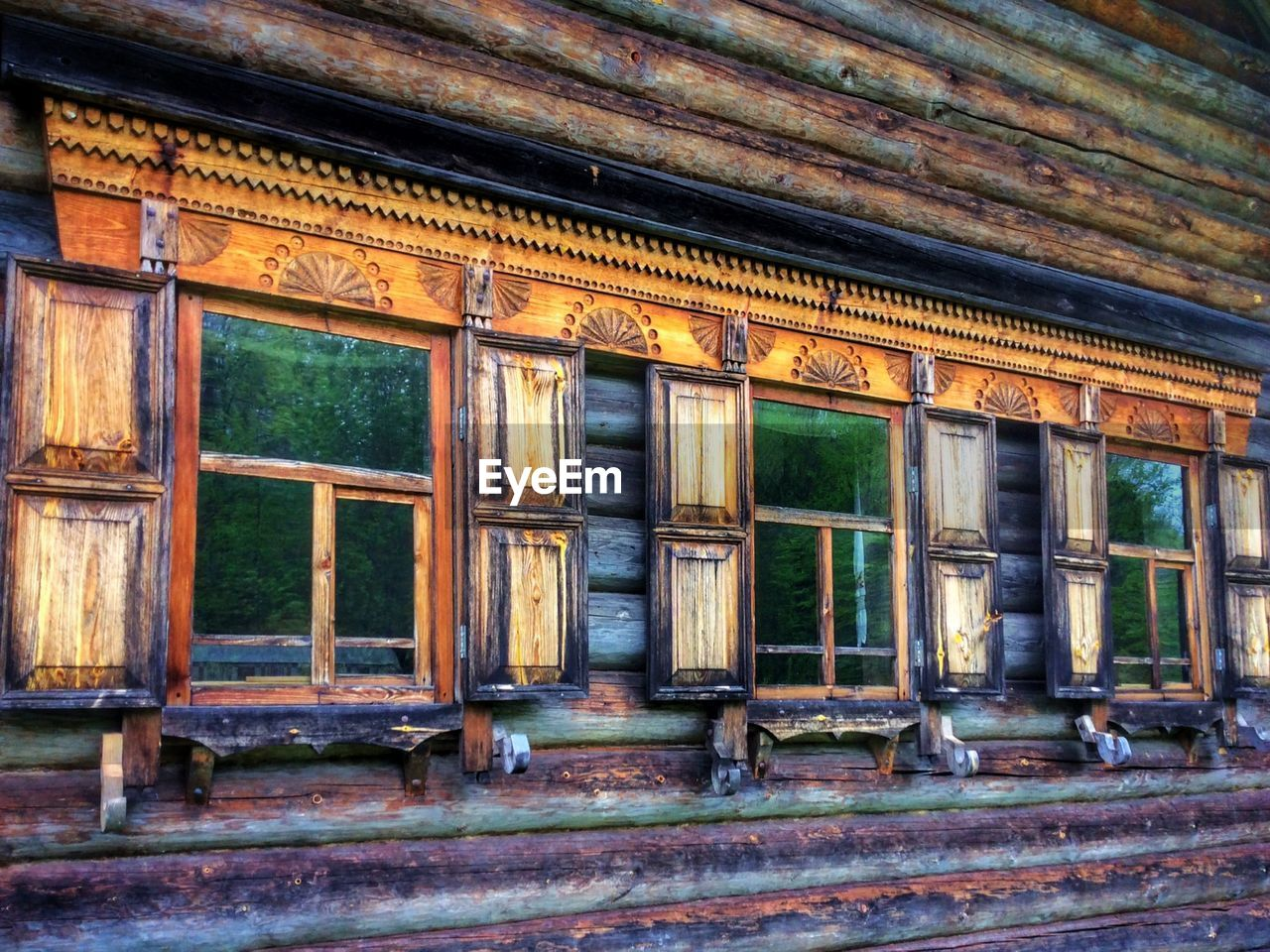 Windows of old wooden house