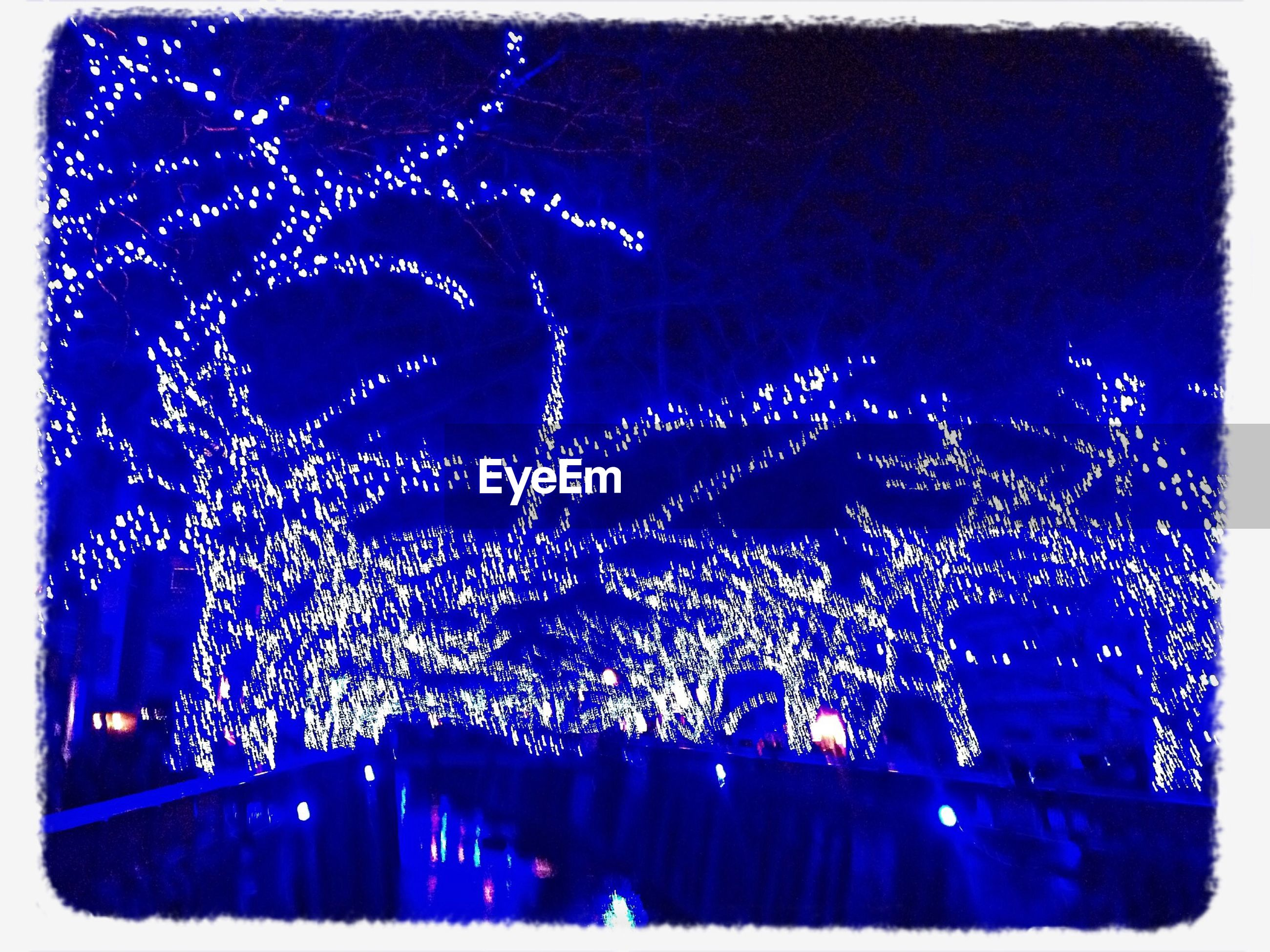 night, illuminated, transfer print, auto post production filter, low angle view, branch, sky, celebration, tree, decoration, bare tree, lighting equipment, outdoors, light, clear sky, glowing, no people, nature, spider web, beauty in nature