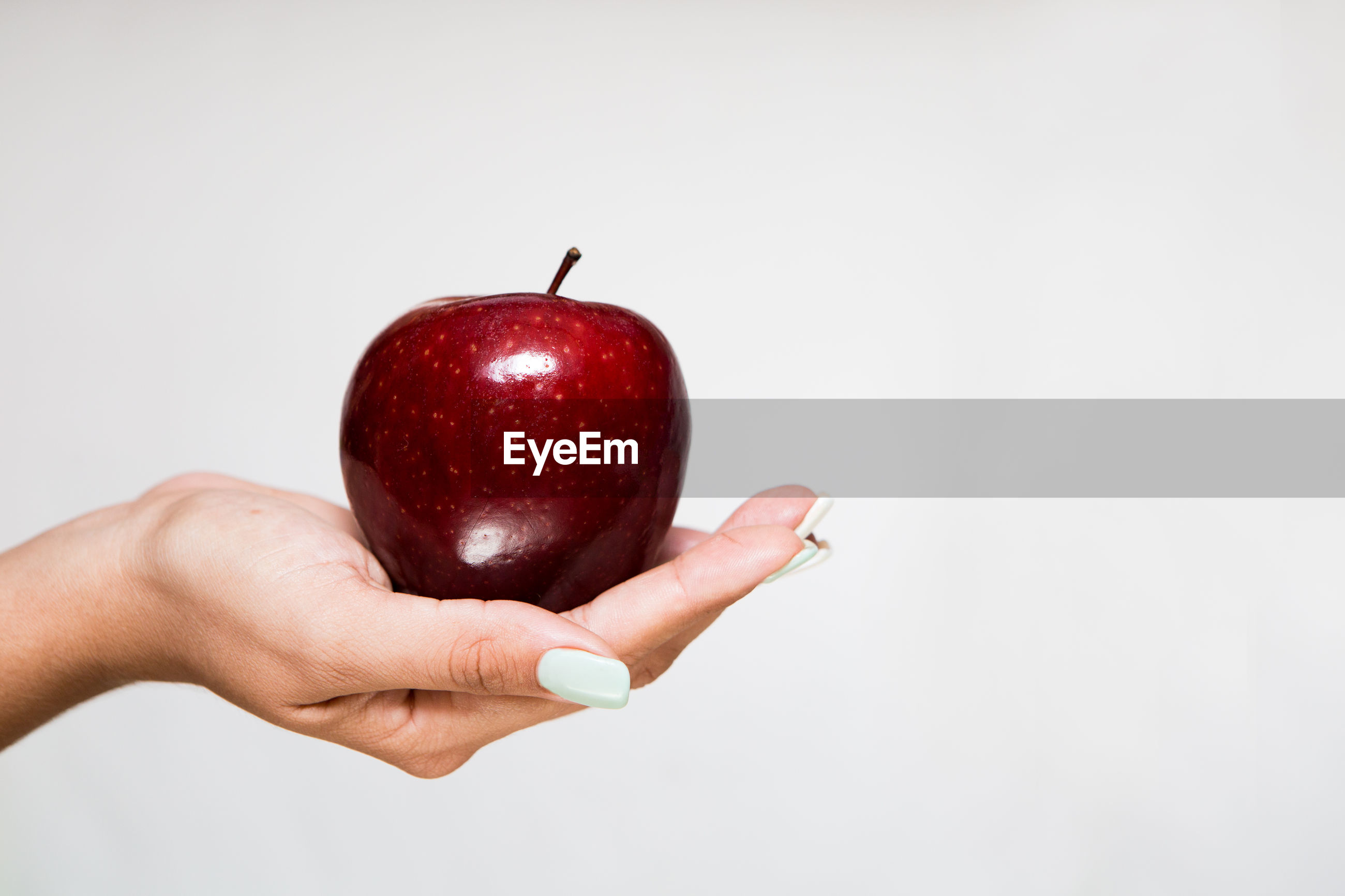 human hand, hand, studio shot, red, fruit, holding, human body part, indoors, one person, white background, food, healthy eating, copy space, food and drink, apple - fruit, wellbeing, close-up, real people, lifestyles, finger, temptation, human limb