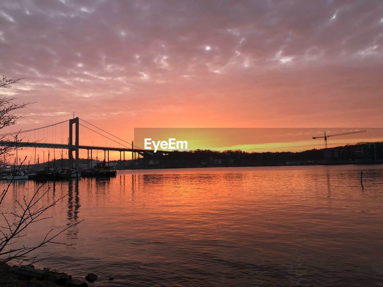 sunset, sky, water, cloud - sky, bridge, connection, orange color, transportation, bridge - man made structure, beauty in nature, architecture, built structure, waterfront, reflection, no people, nature, scenics - nature, river, silhouette, outdoors, bay