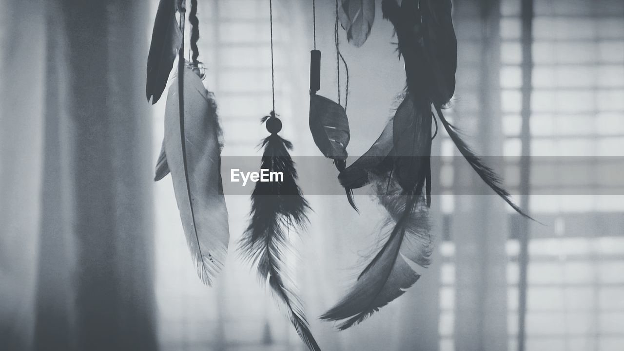 Close-Up Of Dreamcatcher Hanging Against Curtain At Home