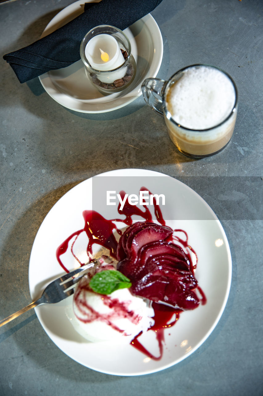 food and drink, food, freshness, table, high angle view, drink, refreshment, indoors, still life, ready-to-eat, plate, no people, eating utensil, healthy eating, kitchen utensil, cup, drinking glass, glass, close-up, household equipment, crockery, temptation