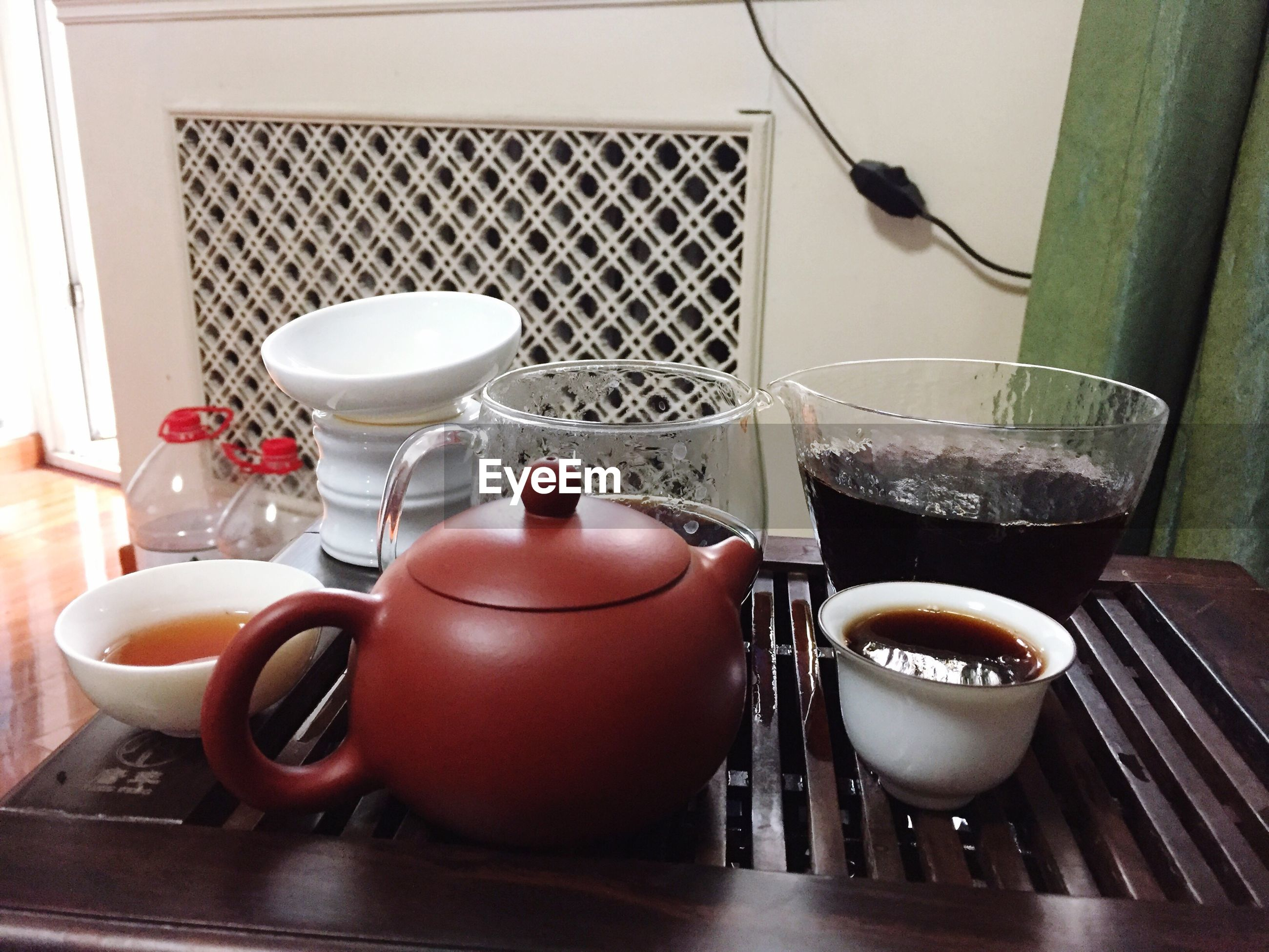 indoors, teapot, table, no people, home interior, food and drink, refreshment, freshness, day