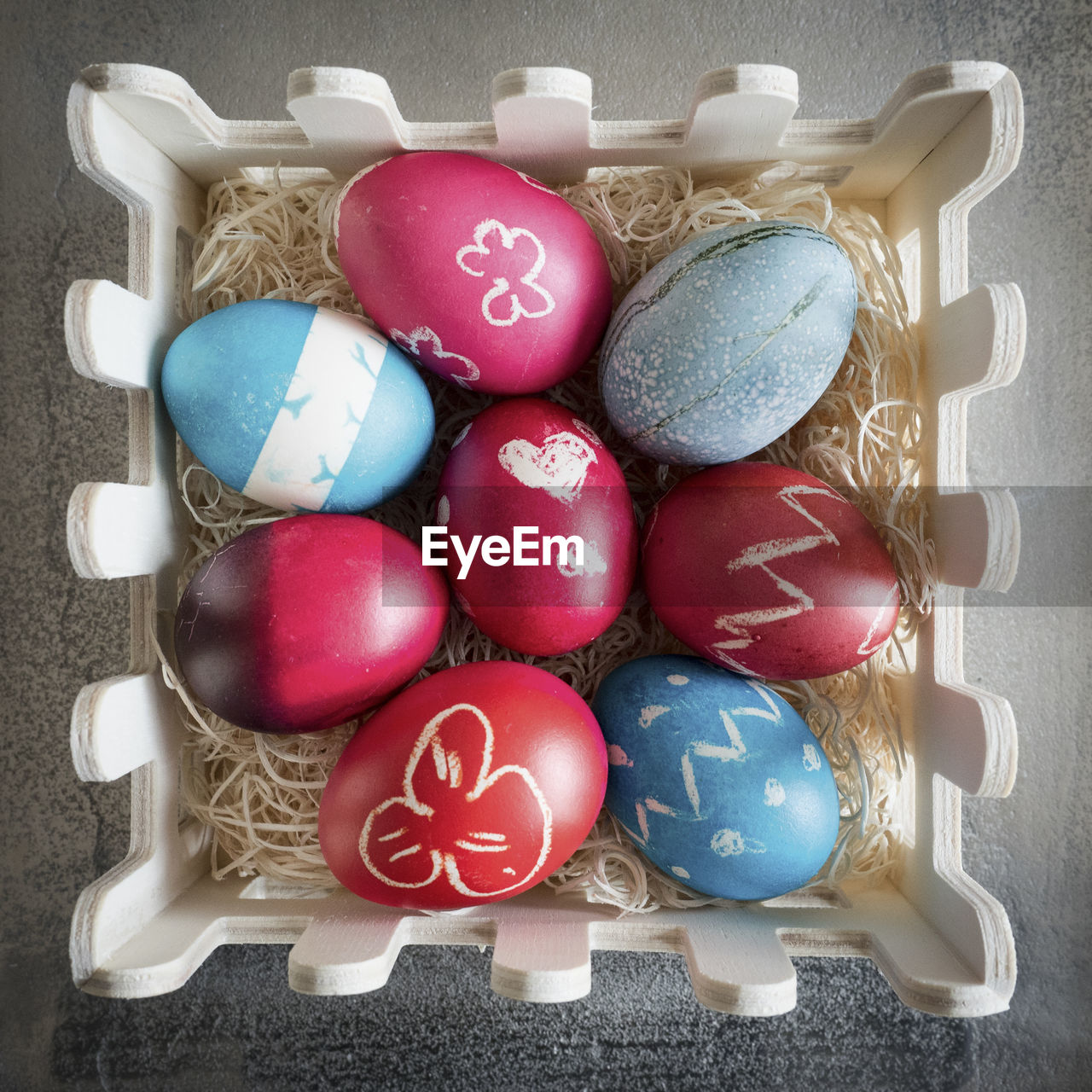 easter, easter egg, celebration, cultures, multi colored, tradition, still life, holiday - event, high angle view, egg, religion, no people, celebration event, directly above, traditional festival, indoors, food, day, close-up