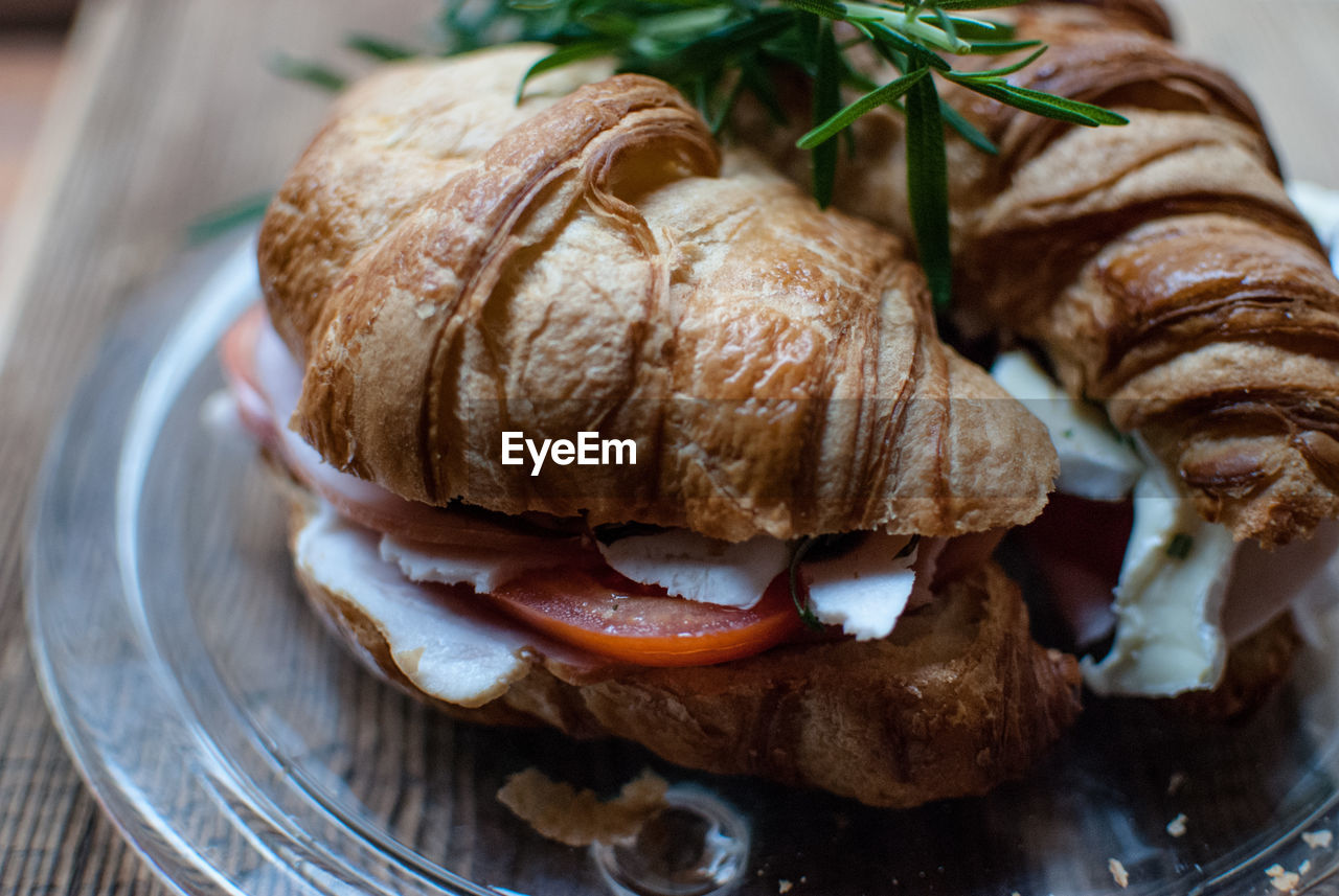 Close-Up Of Croissant In Plate On Table