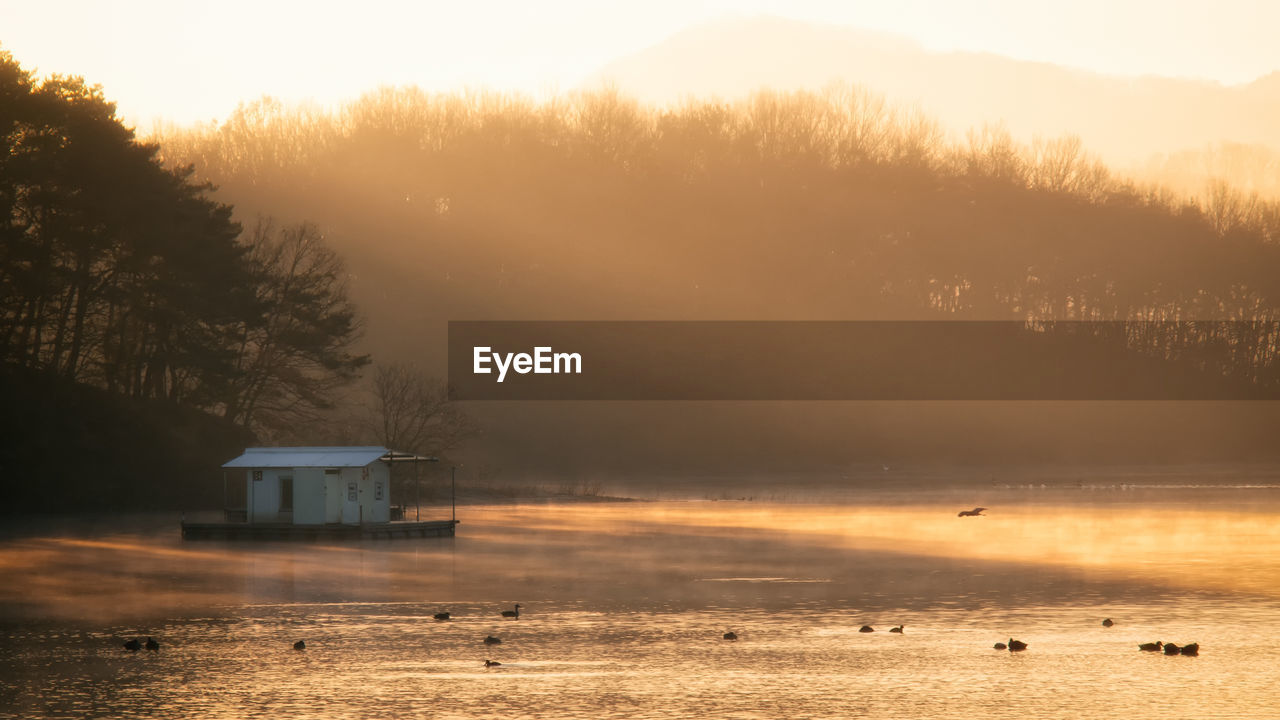 View Of Boathouse And Ducks In Lake At Sunset