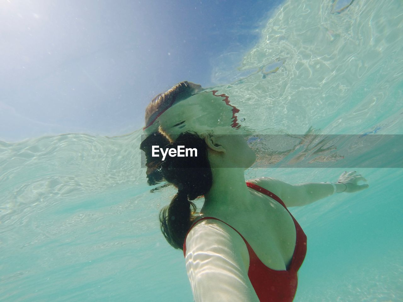 Low Angle View Of Woman Swimming