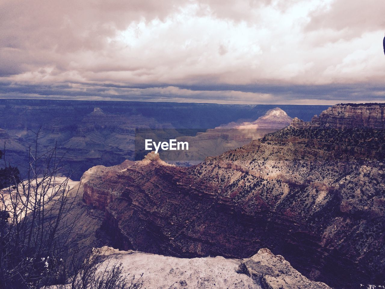 Pipe Creek Vista At Grand Canyon National Park Against Cloudy Sky