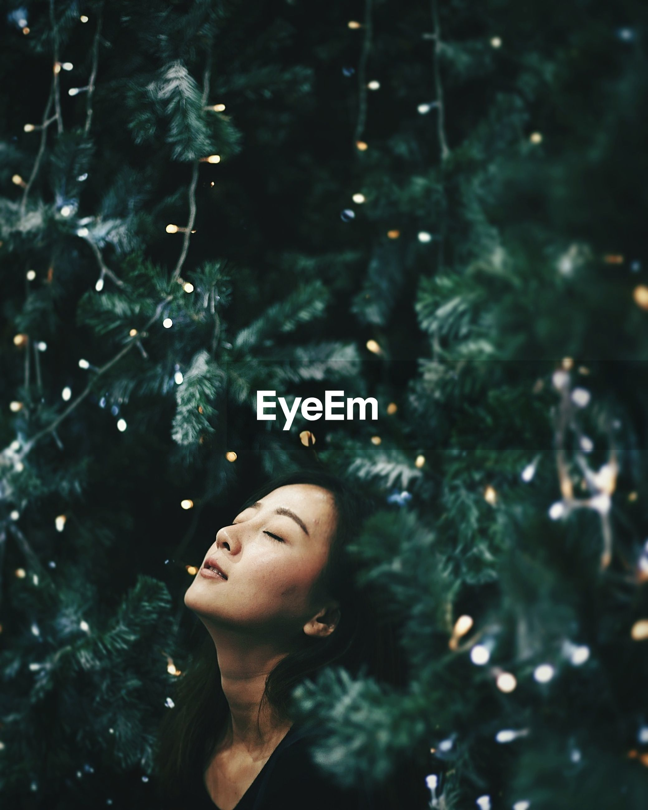 Close-up of young woman against christmas tree