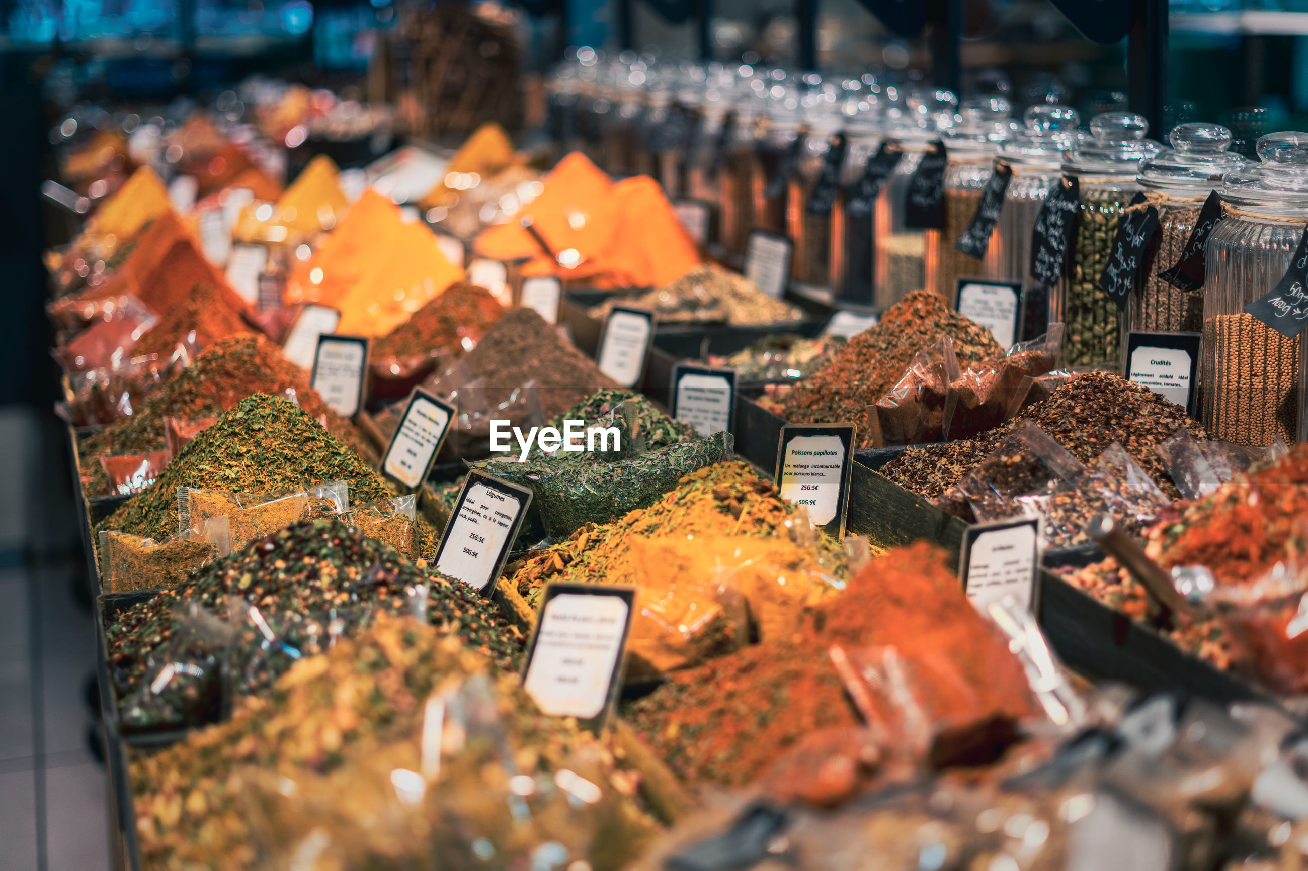 View of spices for sale in store