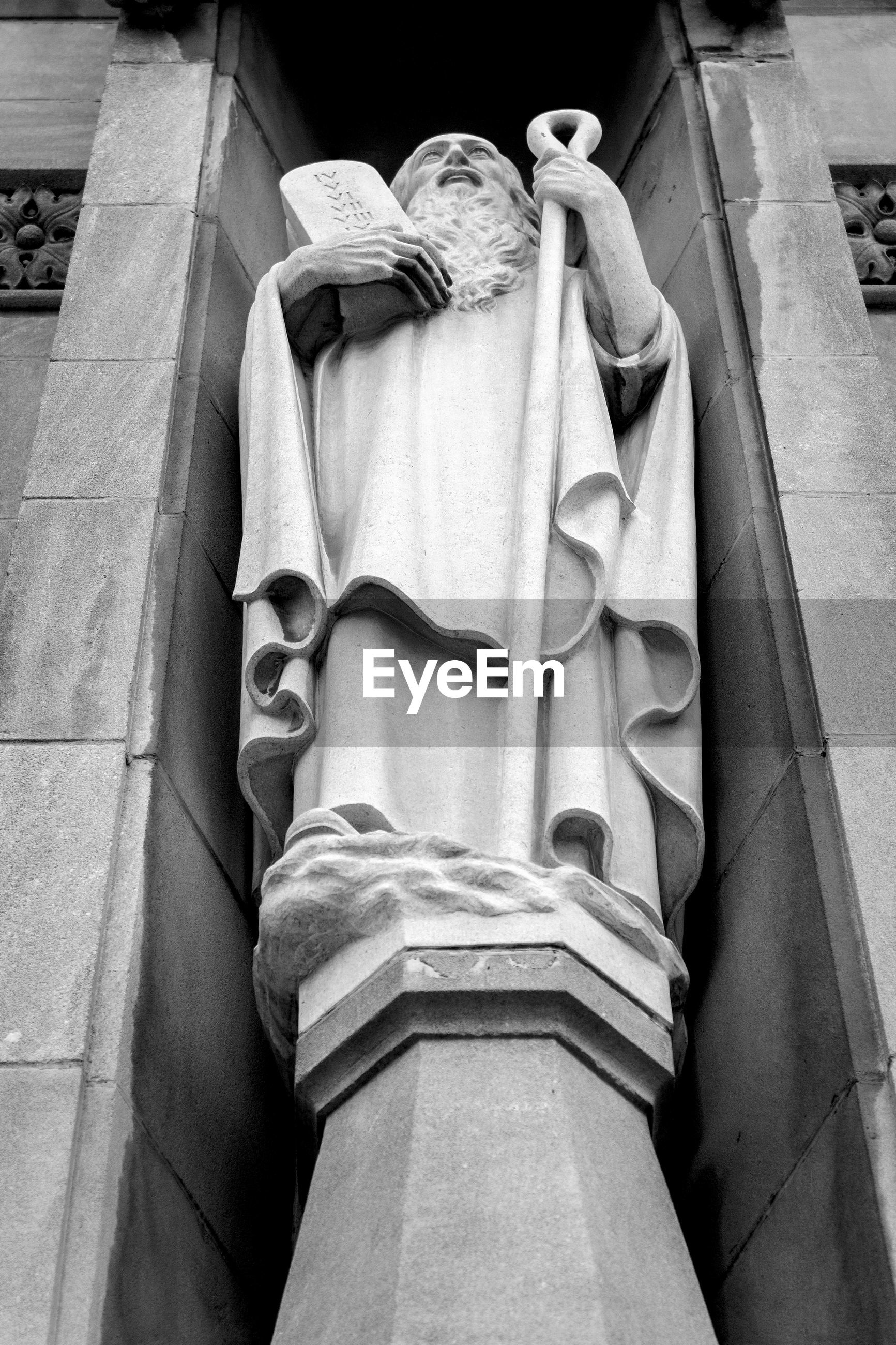 Low angle view of moses statue