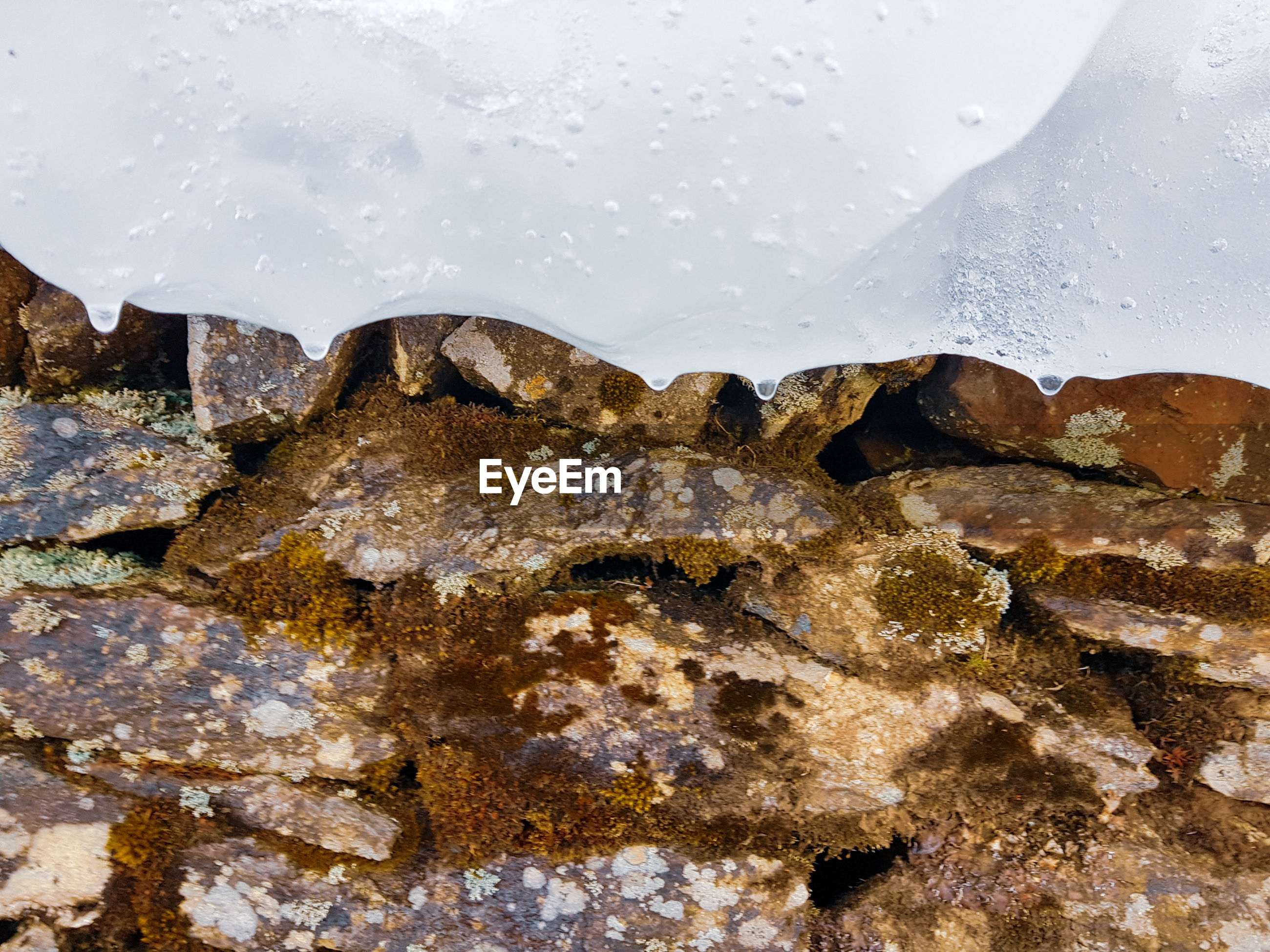 HIGH ANGLE VIEW OF FROZEN ROCKS